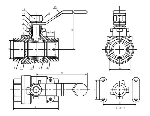 2 piece ball valve dwg