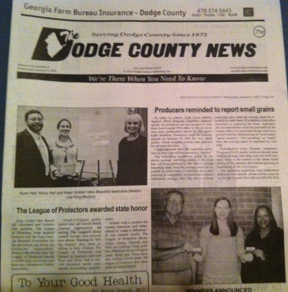 Keep Georgia Beuatiful Awards makes hometown paper