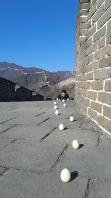 Balancing eggs on the Great Wall of China!