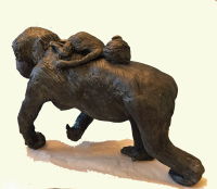 Award Winning Sculptor Patty Hillman Sculptures, Palm Coast, FL.  Member of Flagler County Art League, St. Augustine Art Association.  Sculptor Painter Award Winning Sculpture - A Mother's Love - A mother gorilla with her baby gorilla riding on her back.