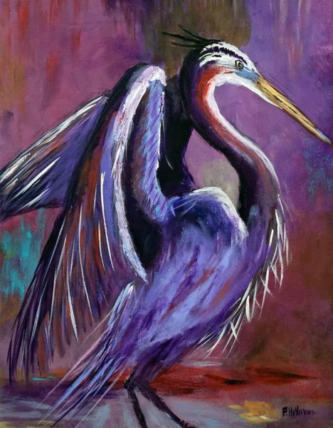Award Winning Sculptor Patty Hillman Sculptures Paintings Heron Dancing in the Rain Purple Palm Coast Florida Flagler County Art League FCAL St. Augustine Art Association