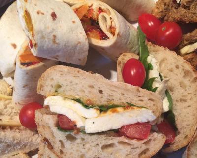 Gourmet Sandwich Kitchen. Vegetarian ciabatta with mozarella & basil pesto.