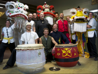 Lion Dance image, Sacred Mountain Fighting and Healing Arts and 9 Dragons Kung Fu lion dancers with Master Michael Kaneen and Grand Master Jerry Cook