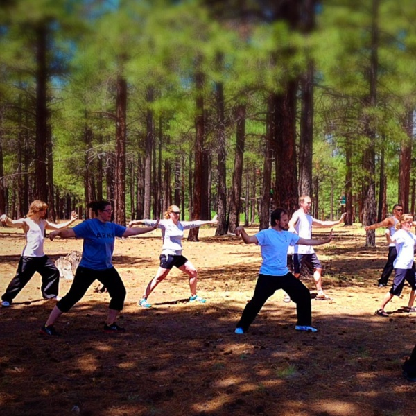 Tai Chi Schedule image, students do Tai Chi at Fort Tuthill, Flagstaff, AZ