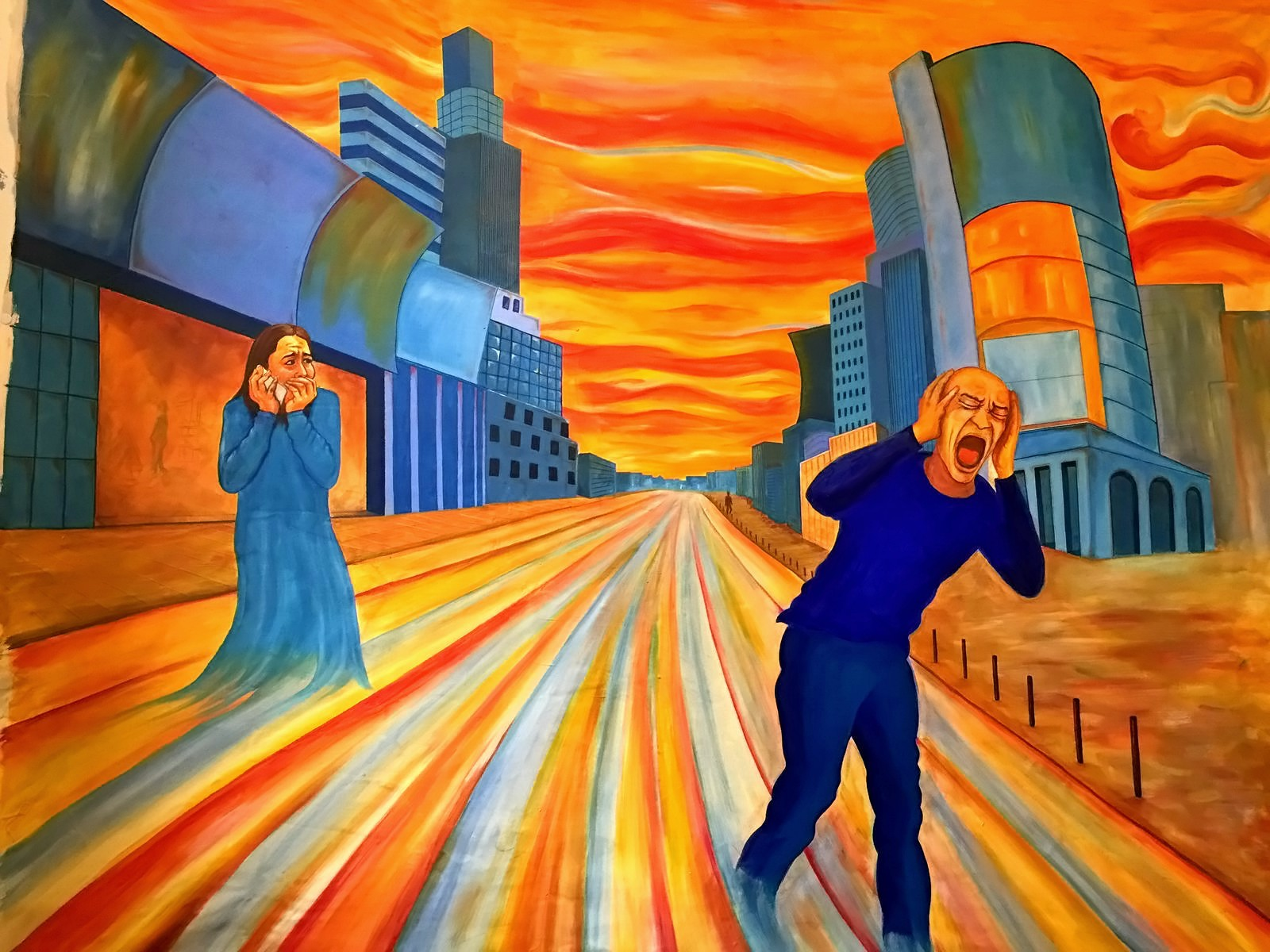 Screaming City (Acrylic on Canvas 53x45in)