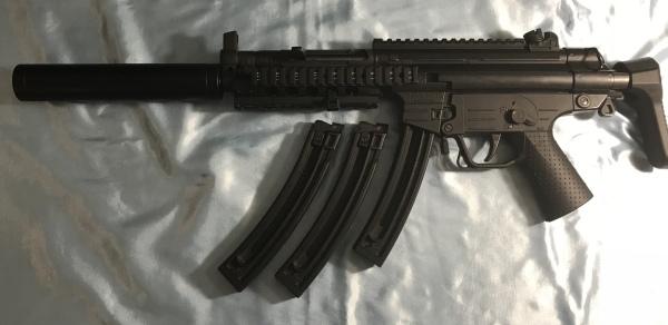 German Sport Guns 522 MP5 Clone .22, 3 mags, quad rail, $350