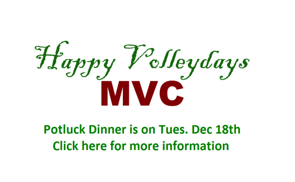 Happy Volleydays MVC Potluck Dinner and Toy Drive