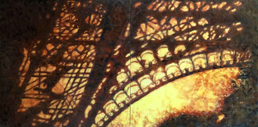 Bastille Day Fireworks by S. Kay Burnett, Encaustic Diptych 12 in x 24 in x 2 in