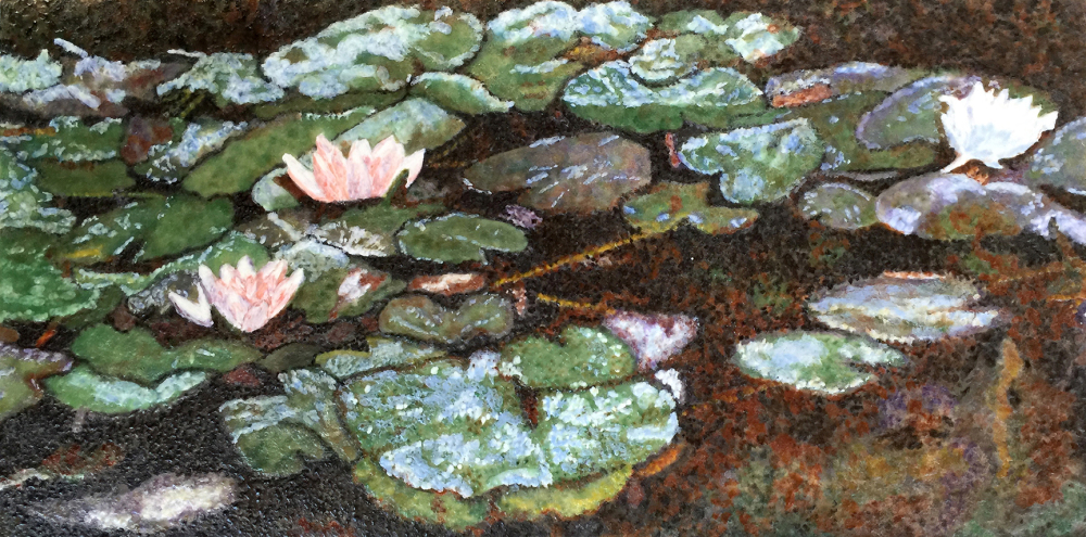 Giverny Waterlilies Encaustic by S. Kay Burnett