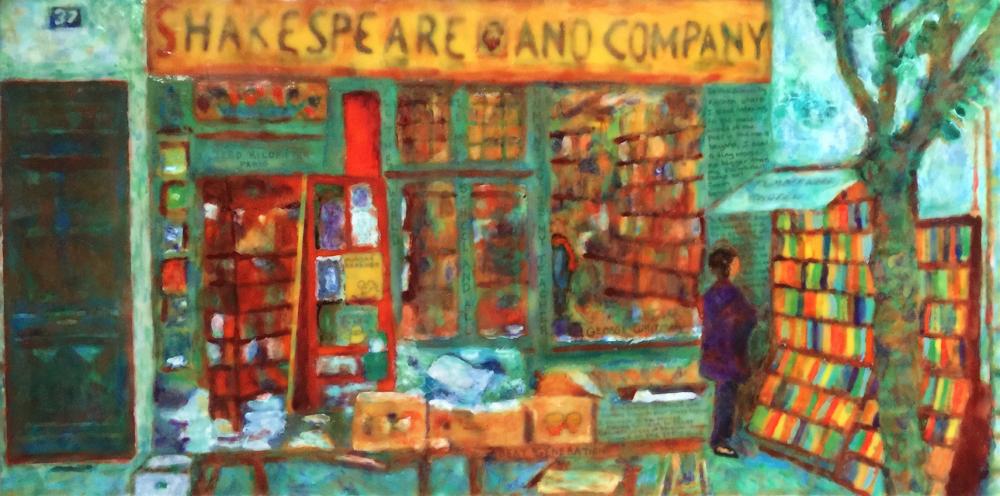 Shakespeare & Co Encaustic by S. Kay Burnett