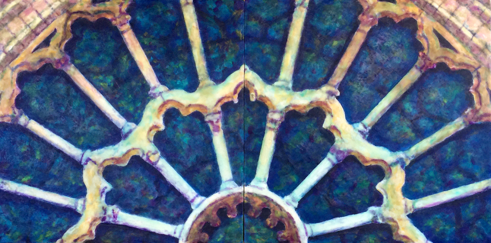 Rose Window Revisited by S. Kay Burnett, Encaustic Diptych 12 in x 24 in x 2 in
