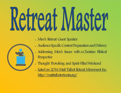 retreatmaster, speaker, mensretreat