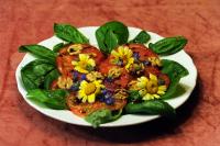 marjai málna dresszing-ehető virágok-pörkölt dio