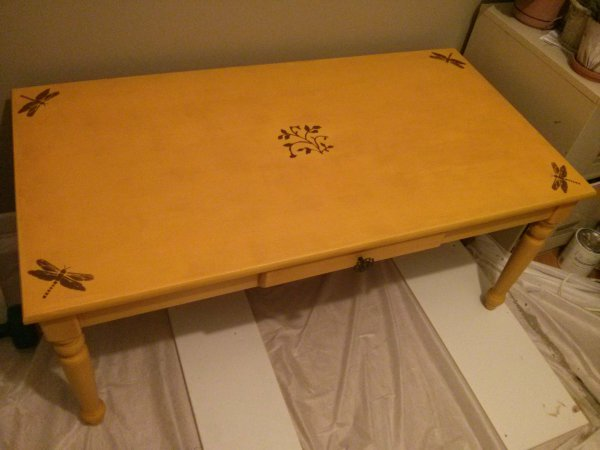 Yellow Painted Coffee Table with Dragonflies