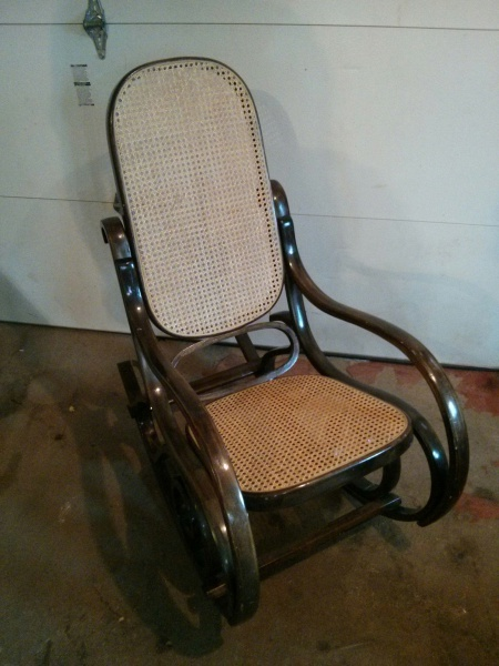 Bent Wood Rattan Rocking Chair