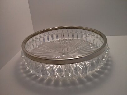 Tri Sectioned Glass Serving Dish with Silver Plated Rim