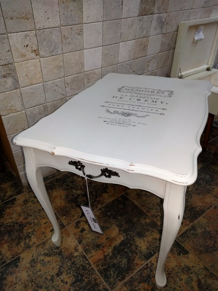 Painted Table with Image Transfer and distressing