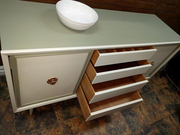 Vintage Solid Wood Painted Credenza
