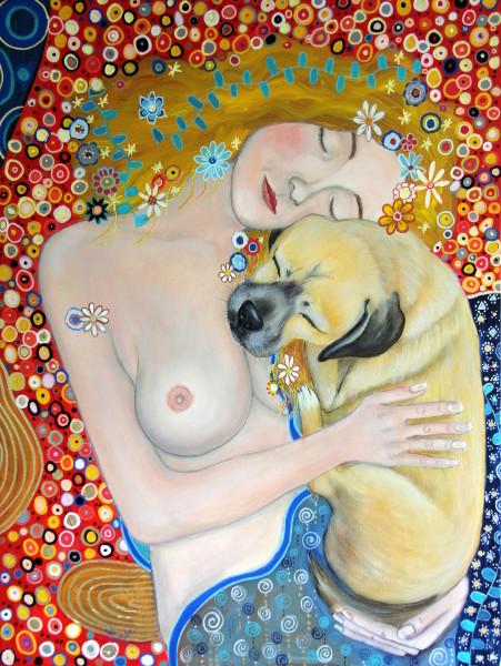 Gustav Klimt, masterpiece painting, puggle painting