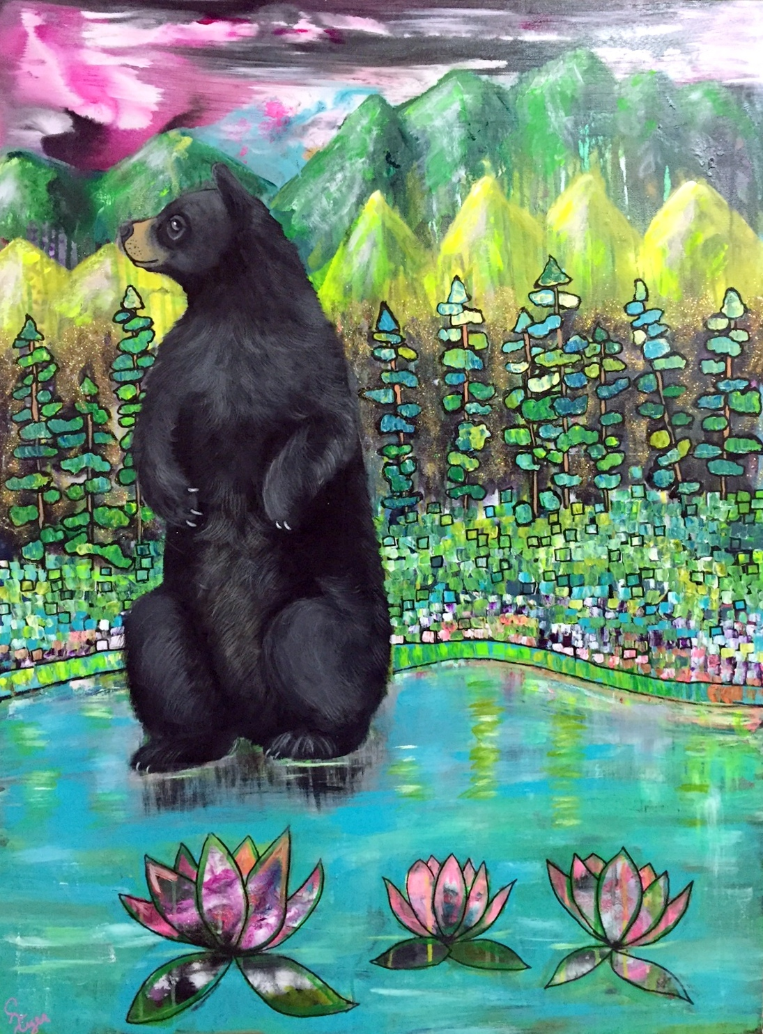 cabin art, black bear art, intuitive painting