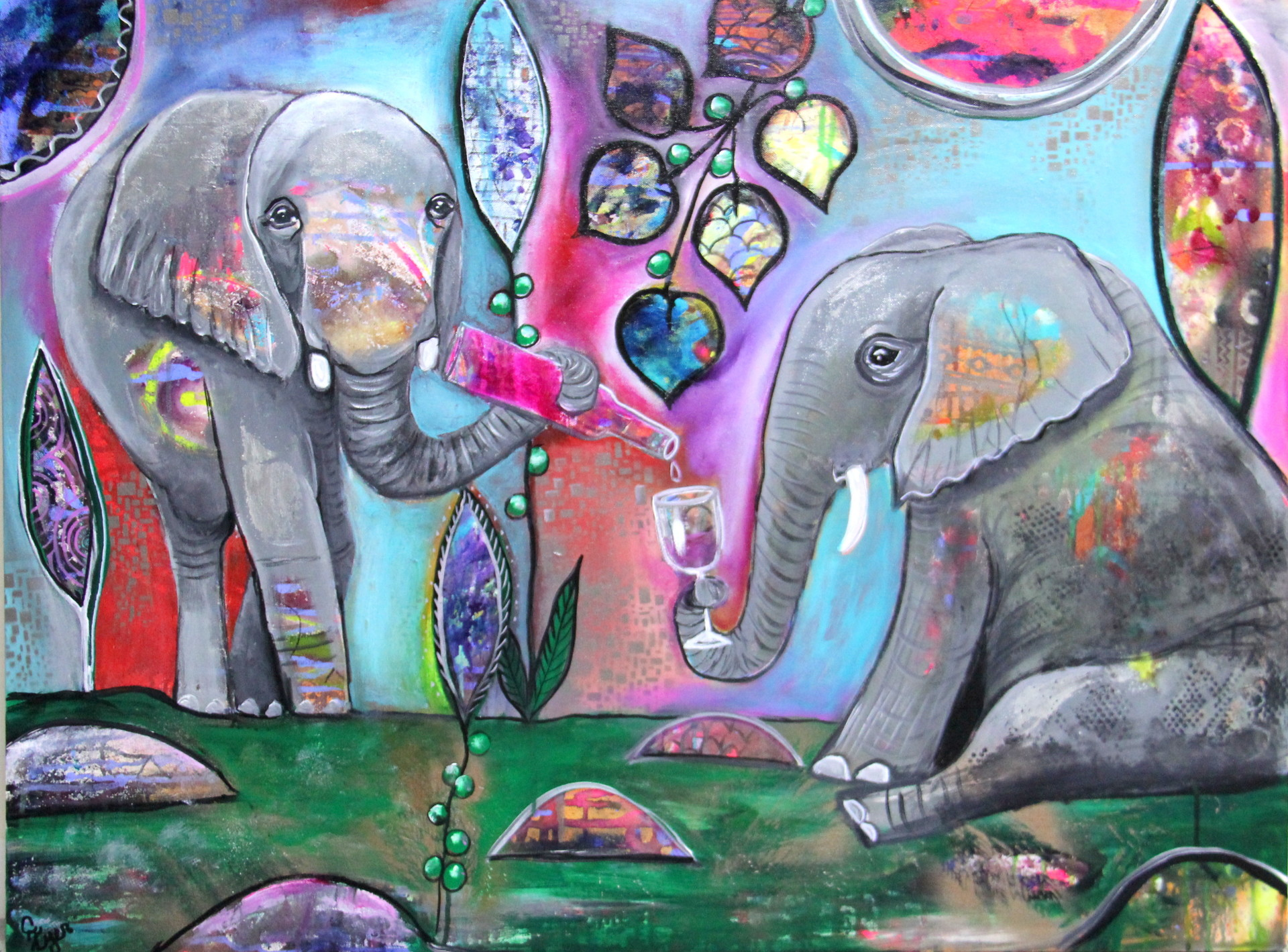 elephant art, boho art, intuitive art, bar art, wine art
