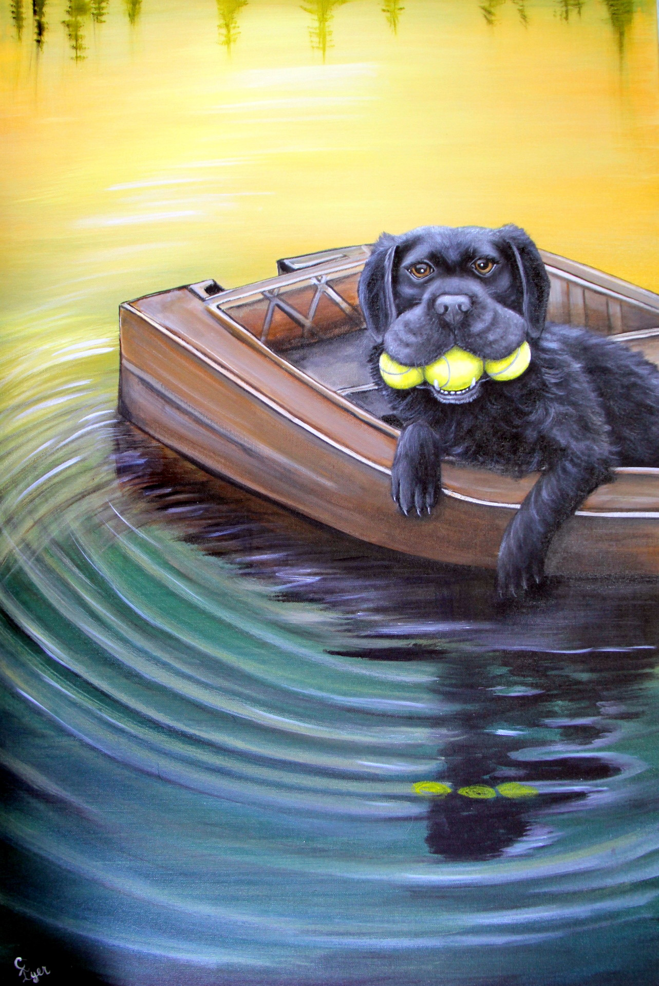 Dog with Balls in Boat
