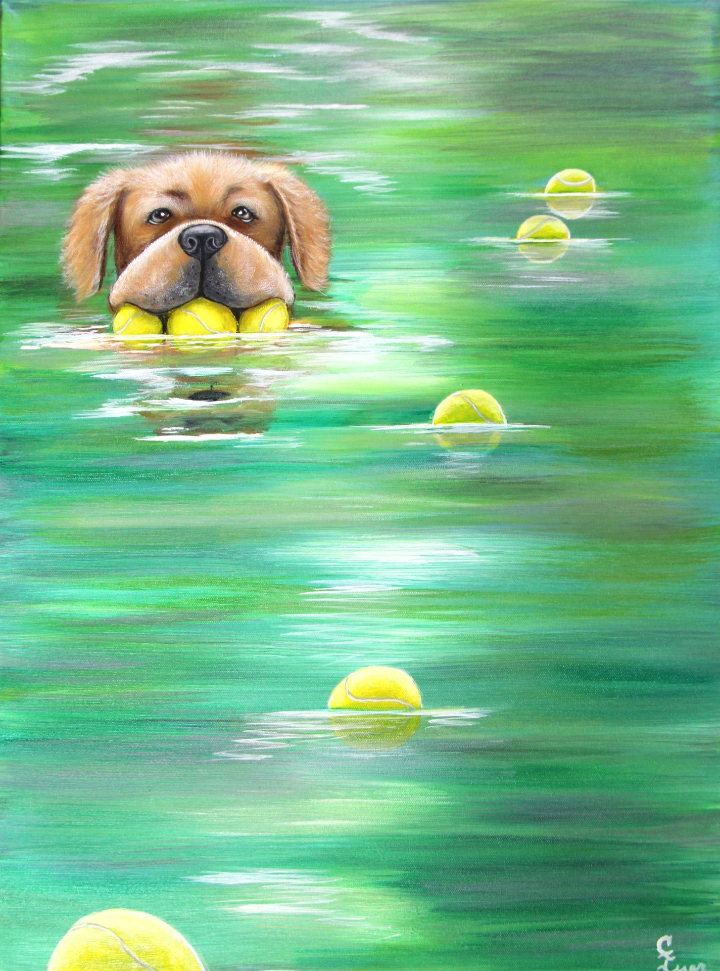 dog art, dog with tennis balls