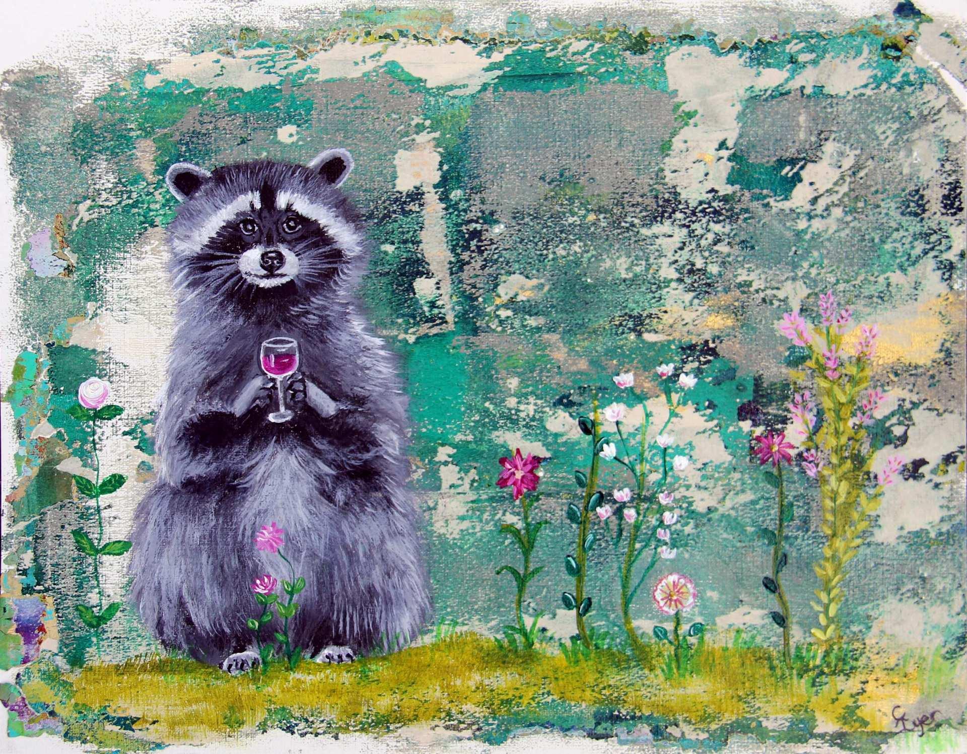 Raccoon with wine