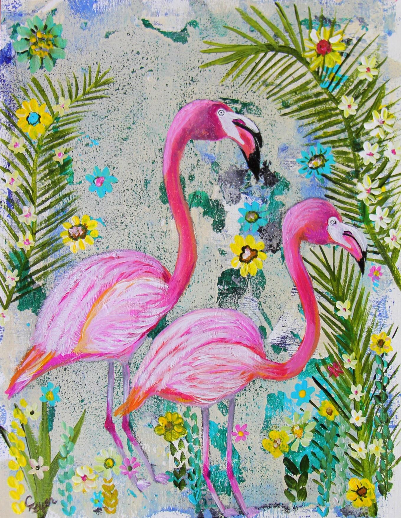 Floral Flamingos