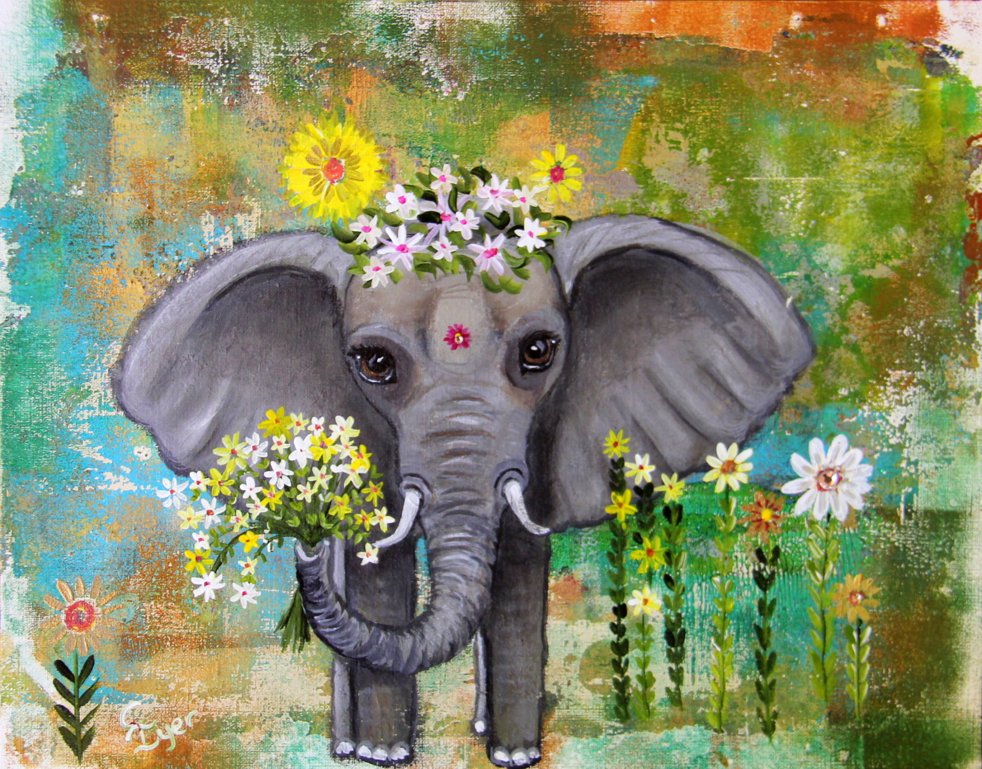 Floral Baby Elephant