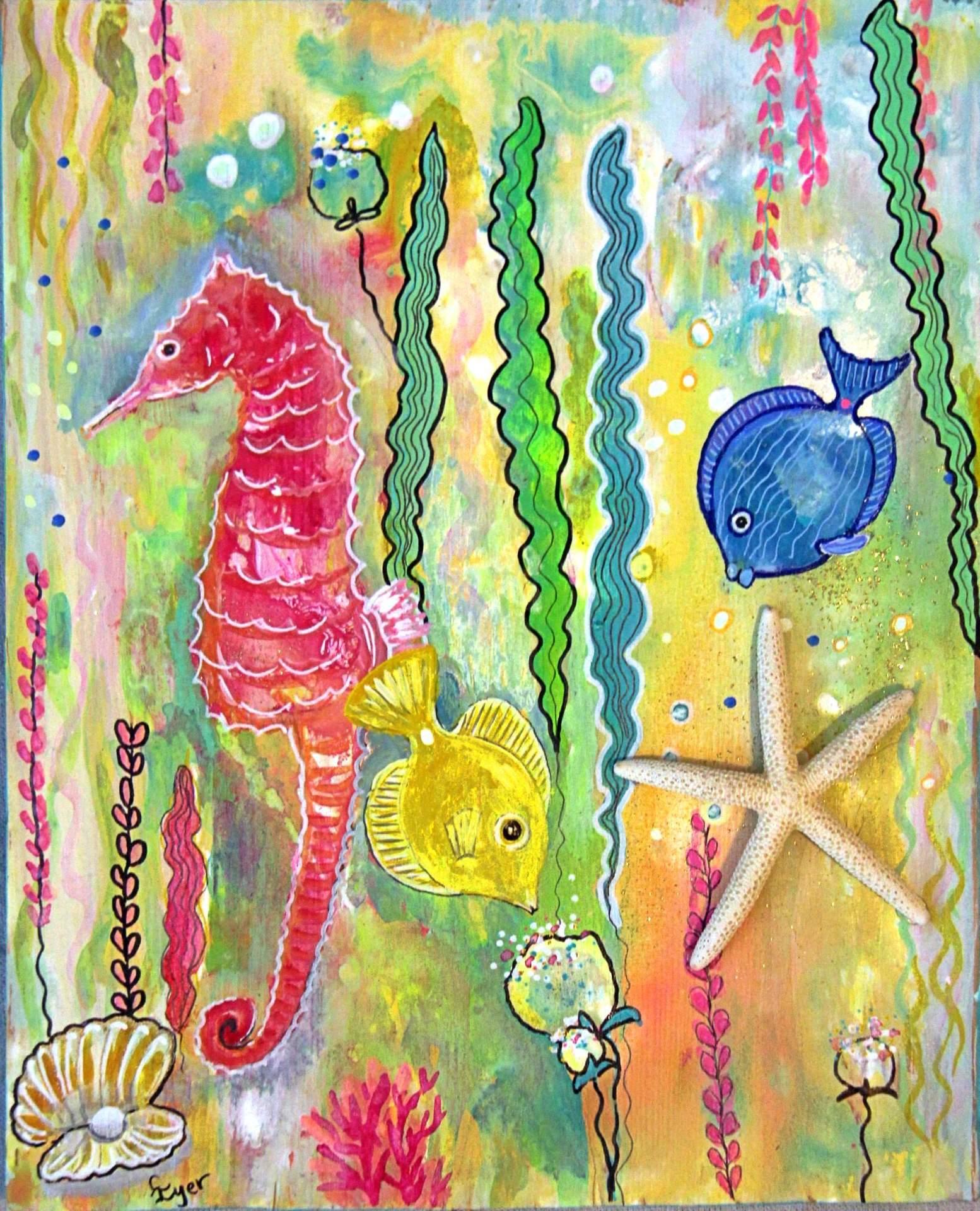 Mixed Media Starfish and Seahorse
