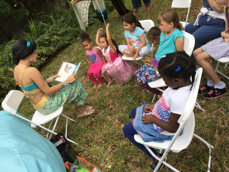 Arabian Princess reading an exciting story to her new friends.
