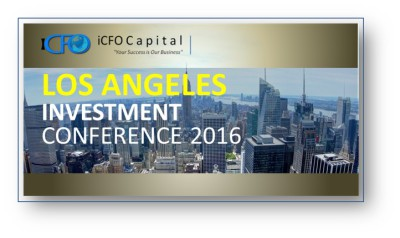 March 31st - iCFO Capital Investment Conference, Los Angeles