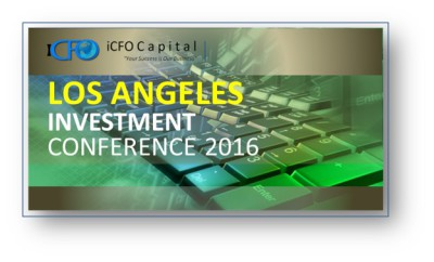 May 27th - iCFO Capital Investment Conference, Los Angeles