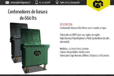 Contenedor de basura de 660 Lts