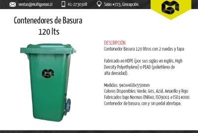 Contenedor de basura de 120 Lts