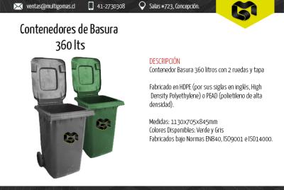Contenedor de basura de 360 Lts