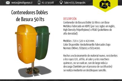Contendores de basura dobles de 50 Lts