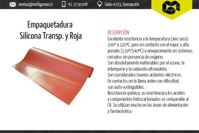 Empaquetadura silicona transparente roja