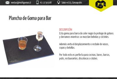 Plancha de goma para bar