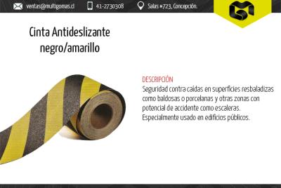 Cinta negra/amarilla antideslizante