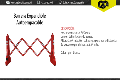 Barrera expandible autoempacable