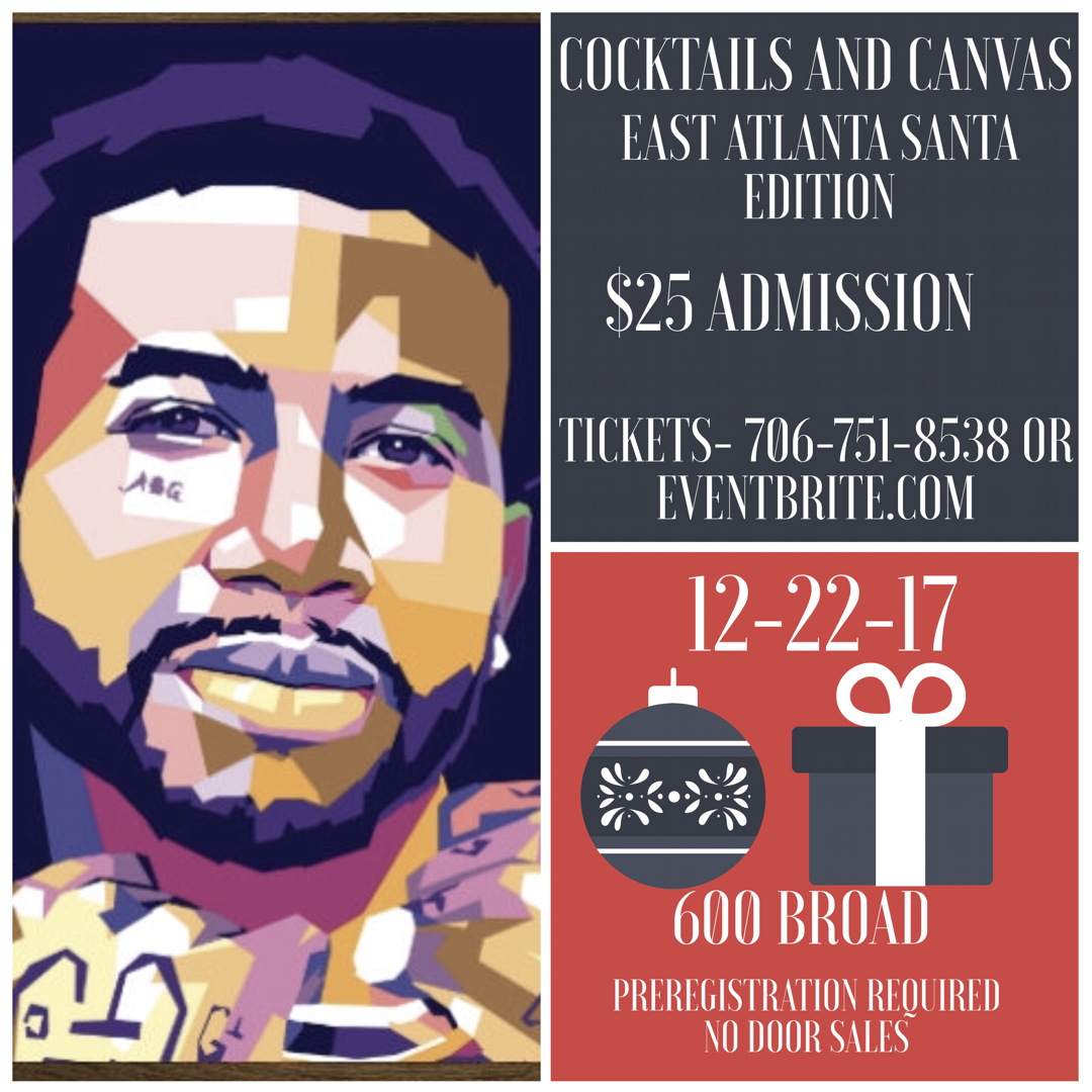 Cocktails and Canvas- East Atlanta Santa Edition