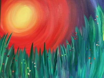 Flower Field Sunset