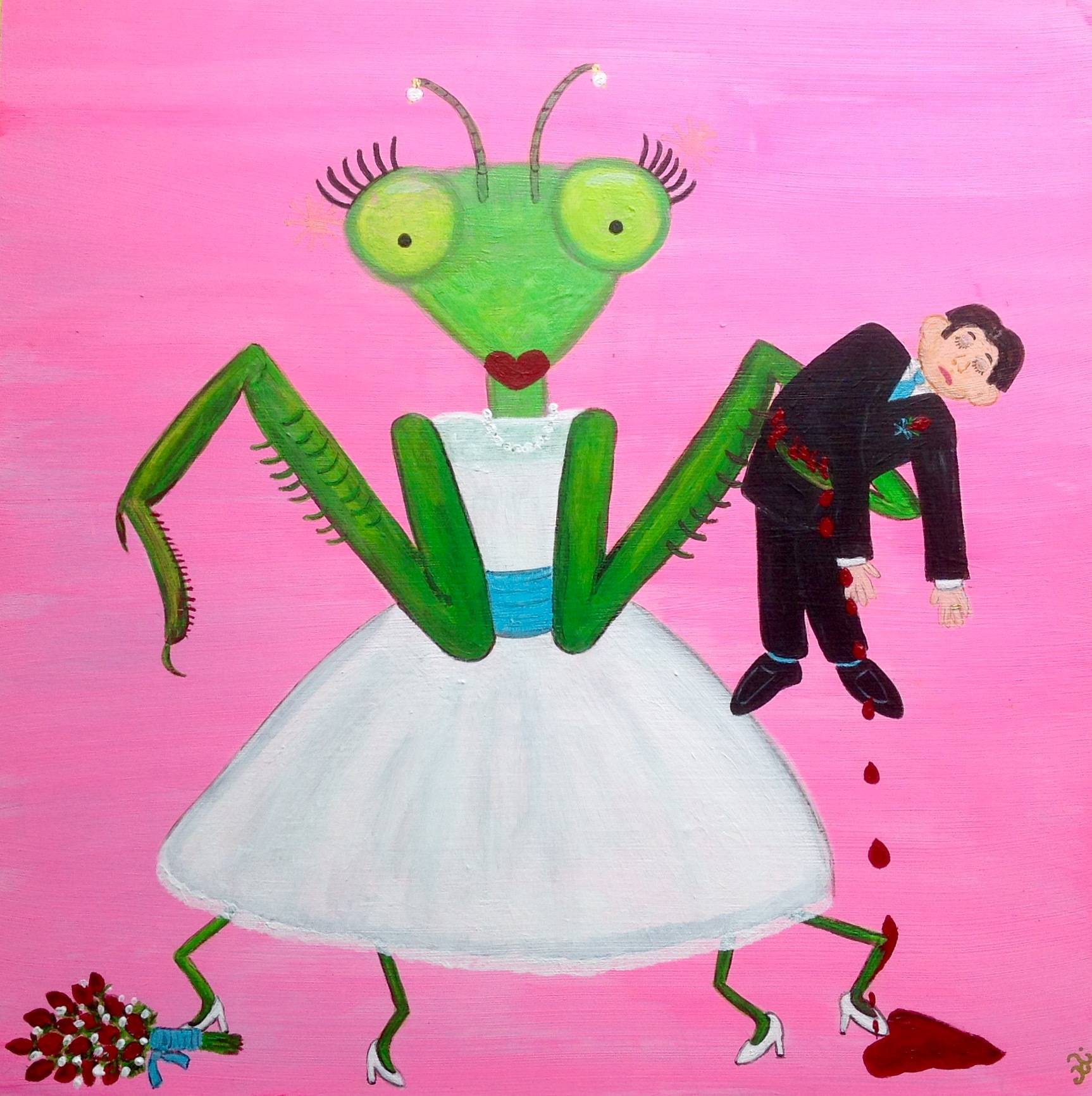 Praying mantis wedding