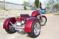 Custom made trike conversion kit installed on a chopper