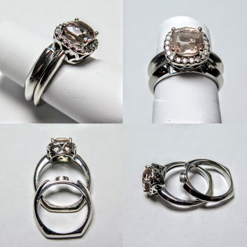 white gold, fitted wedding ring, morganite, diamond, bespoke wedding ring