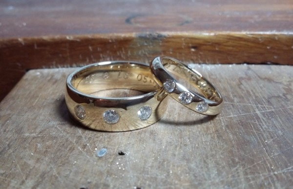 make your own 9ct yellow gold and diamond set wedding rings