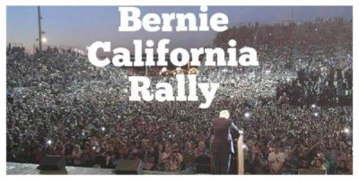 hillary and bernie californa  rallies