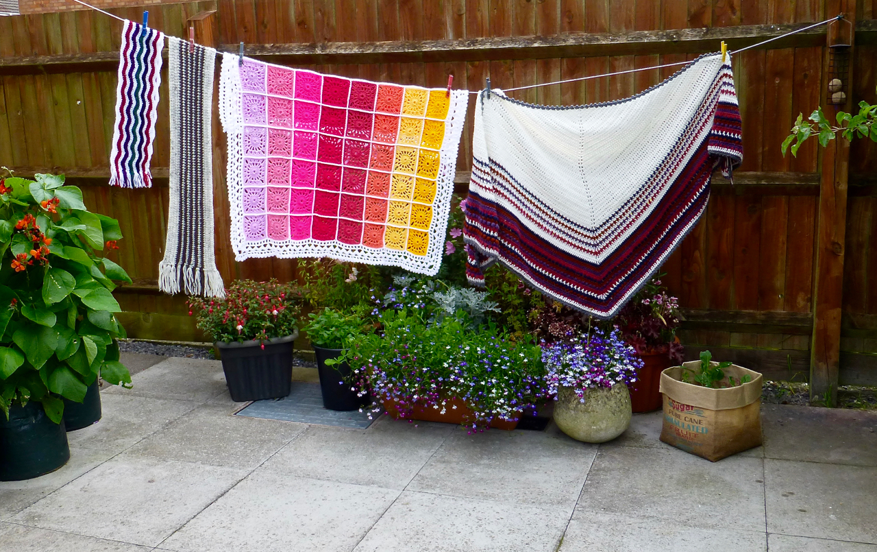 Jewel Wave Scarf, Natural Stripe Scarf, Medallion Blanket & Stash-uster Stripes Shawl